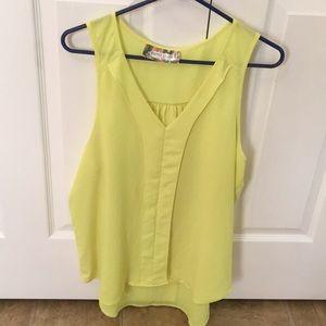 Boutique top large. Semi sheer yellow chiffon